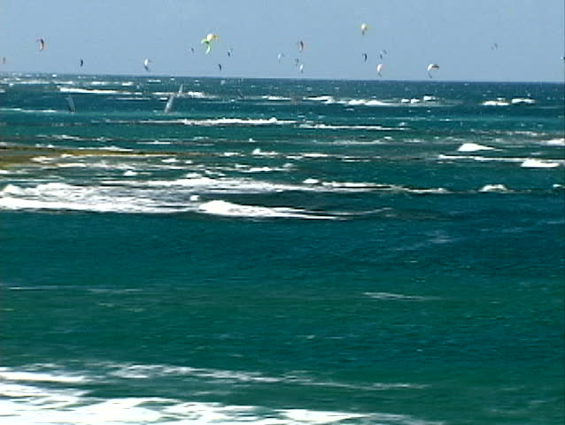 Aerial view of hundreds of windsurfers off the north coast of the Dominican Republic
