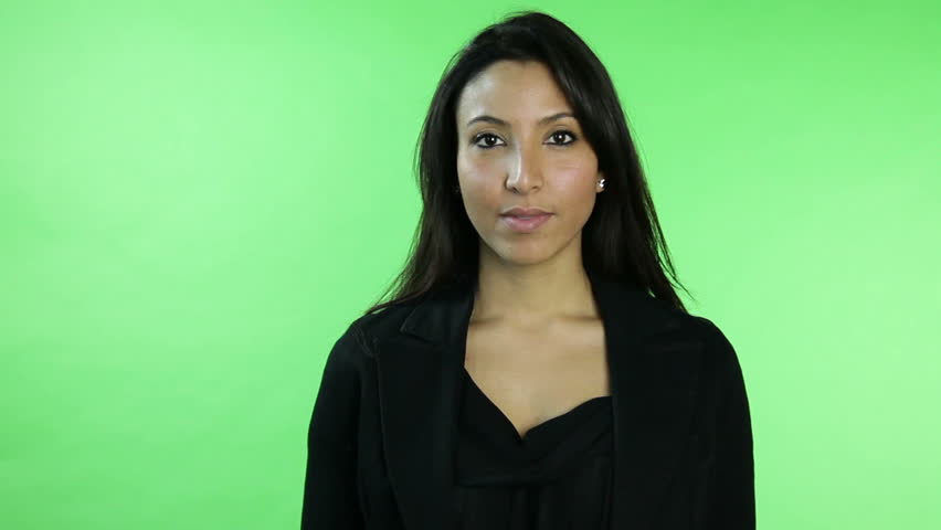 Business woman isolated on green screen confident interview | Shutterstock HD Video #5377343