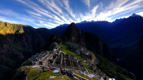 Machu Picchu is a 15th-century Inca site located 7,970 feet above sea level, which was declared a UNESCO World Heritage Site in 1983 and New Seven World Wonder in 2007. Footage in time lapse.