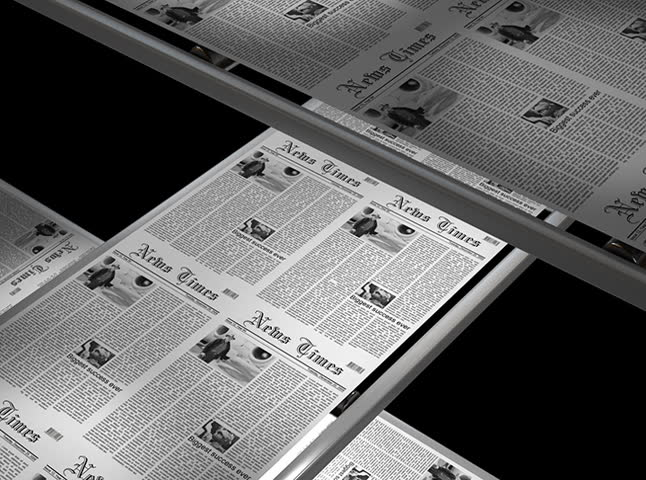 Newspaper press at work - seamless loop with alpha matte - 4:3 aspect ratio