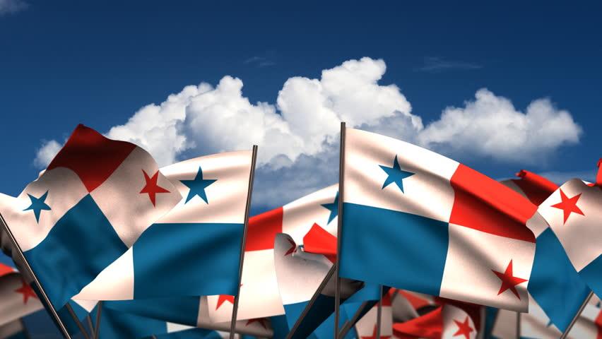 Waving Panamanian Flags Seamless Alpha Channel Stock Footage - Panama flags