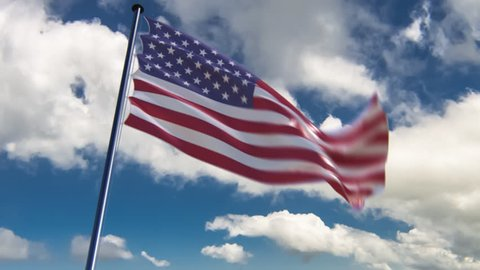 USA Flag, HQ animated on an epic background. ready to use animation of the american flag animated on an epic background with fast moving clouds. See my other flags of different countries