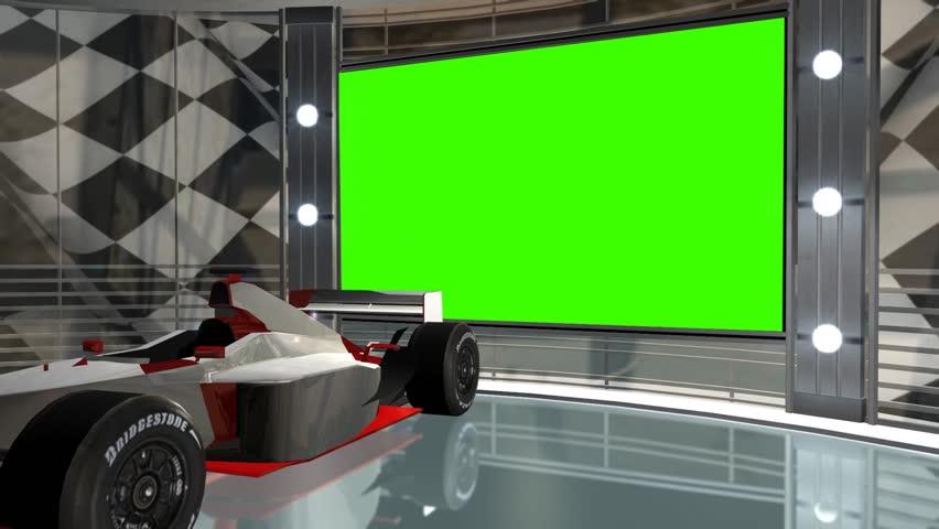 Virtual Studio with greenscreen - Videobackground