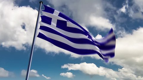 Greece Flag, HQ animated on an epic background, neutral