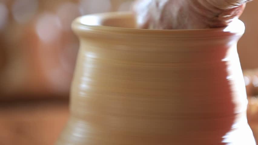 Raising Vase On Pottery Wheel Stock Footage Video (100%