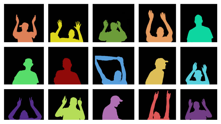 Fifteen colored silhouettes, all in a separate window. Dancing, crying, shouting and waving. All persons depicted are separate movements.