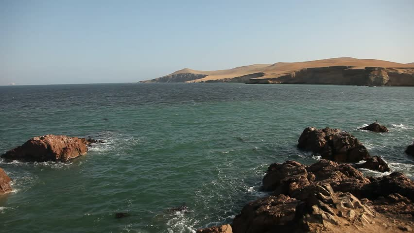 video footage of a coastline in the paracas national parc in peru, south america with the pacific ocean
