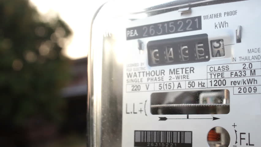 Electric power supply meter at sunset, closeup