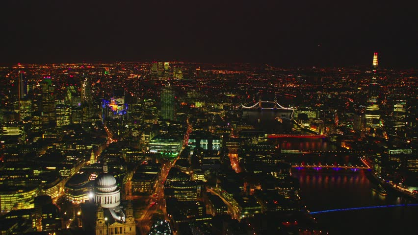 Aerial shot of Central London with a view of the City Financial District, Liverpool Street, Gherkin, at dusk | Shutterstock HD Video #5475320
