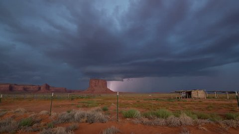 Dramatic monsoon lightning storm over Monument Valley in time lapse