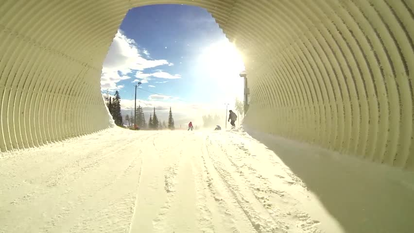 Snowboarding on Ski Resort Trail pov