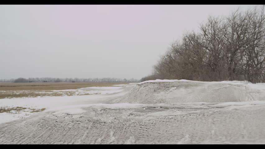 Snow on an empty field