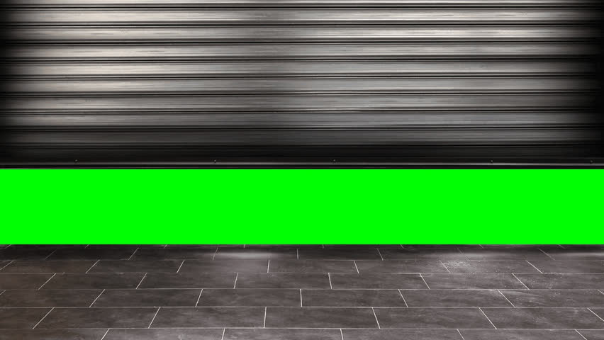 Old garage roller door opening from bottom to top with chroma key background