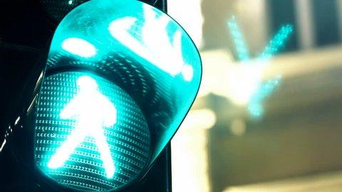 Green light to pedestrians ; Green single traffic light to pedestrians in the night,video clip