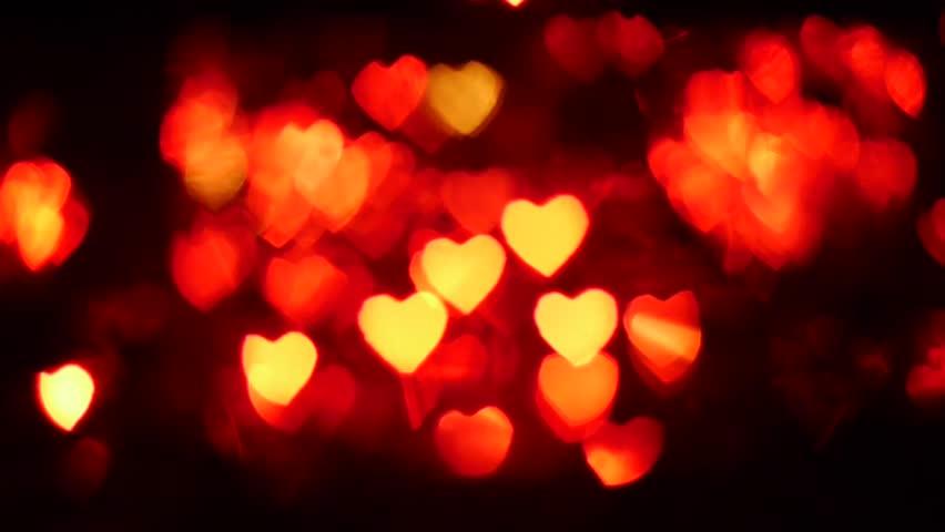 Bokeh Heart Shape Of Light Background Stock Footage Video: Hearts Bokeh Stock Footage Video 1467091