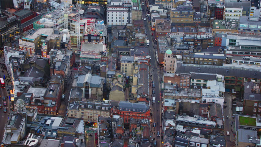 4K Aerial shot of Central London with view of Piccadilly Area, Brewer Street, Shaftesbury Avenue, Regent Street