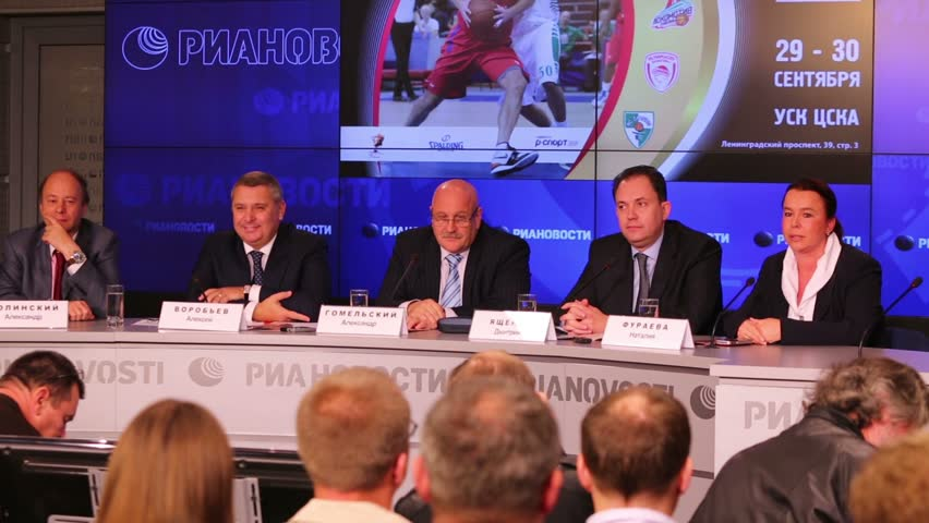 MOSCOW, RUSSIA - AUG 15, 2012: Alexander Gomelsky talks at press conference before international basketball tournament cup name Gomelsky in press center of RIA Novosti.