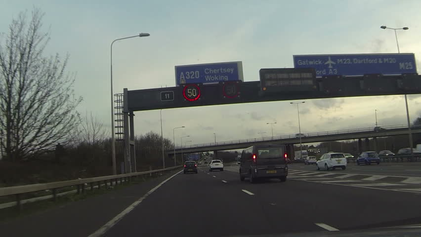 Point of view car exiting a motorway