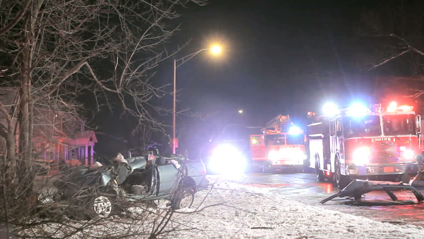 Car accident on road with wreck after crash
