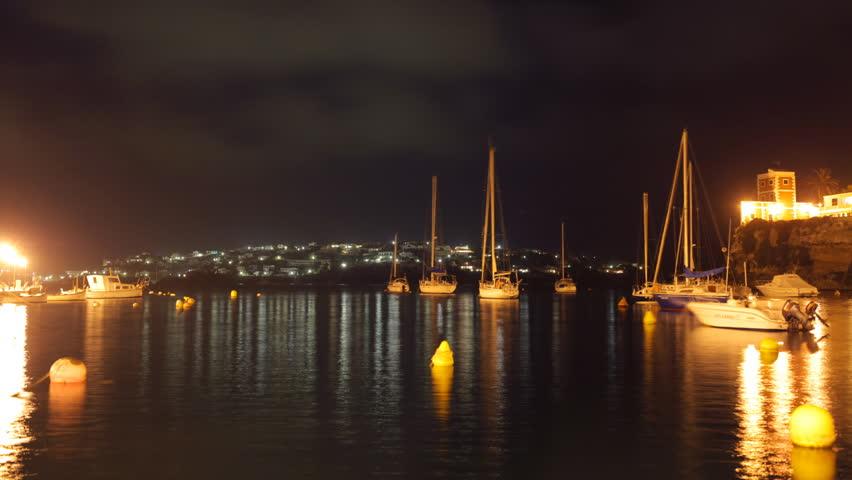 night view of harbour in menorca, balearic islands, spain