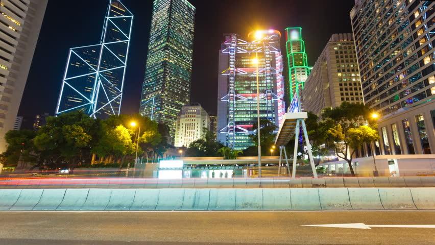 4k hyperlapse video of a busy street in financial district of Hong Kong | Shutterstock HD Video #5608583