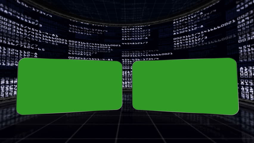Two Green Screen Monitors in Numbers Room, with Alpha Channel | Shutterstock HD Video #5636993