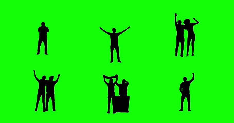 Football fans on green screen. Goal.
