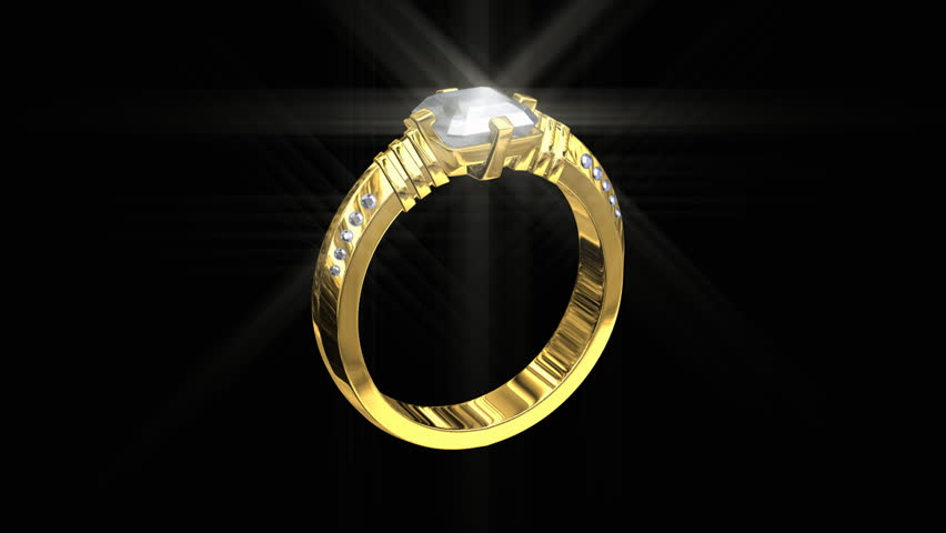 3D Jewelry Wedding Gold Ring With White Diamonds Spinning