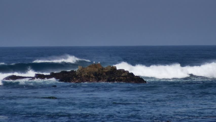 Pacific Grove, California - January 27, 2014 - Slow motion of waves splashing against the rocks in Point Pinos.