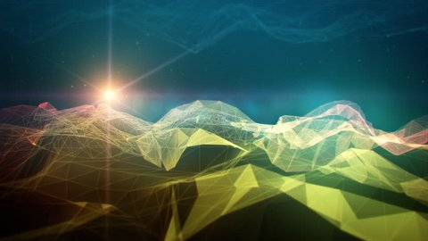 3D mountain digital space landscape in wireframe polygon style.  This animation can be used as live visuals, VJ performances, illustrating an idea, motion background, intro for your show, b-roll.