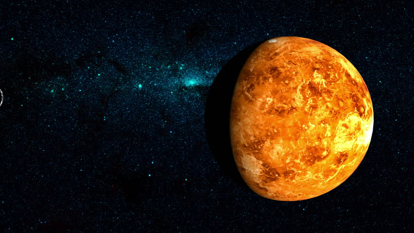 Planet venus on a beautiful starry background orbiting around the planet venus on a beautiful starry background orbiting around the sun some of the other planets in the solar system also shown orbiting around the sun in voltagebd Choice Image
