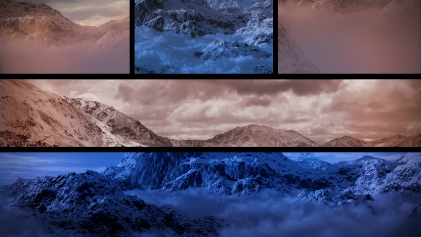(1130) Snowy Mountain Sunset Composition Loop themes of wilderness, exploration, adventure, extremes, leadership, weather, nature, achievements, climbing and outdoor sports, seasonal winter activities