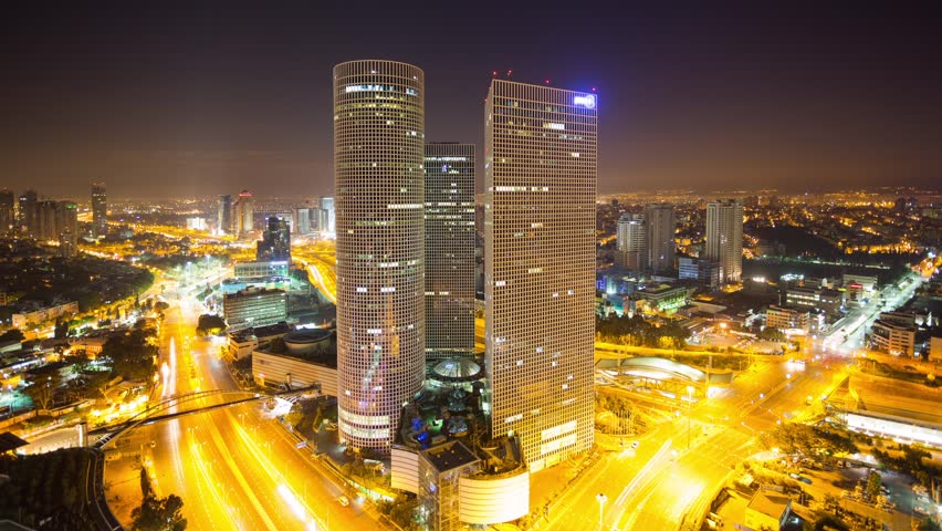 Tel Aviv Skyline-  From Night To Day Time Lapse,