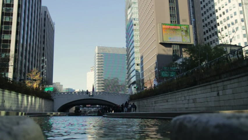 Seoul, South Korea - November, 2012 - View of Cheonggyecheon from low angle.