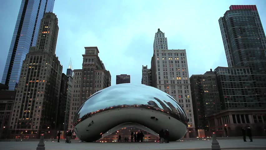 Chicago, Illinois - March, 2012 - An evening wide angle timelapse of Cloud Gate (the Bean) public sculpture in Millennium Park in Chicago, Illinois.