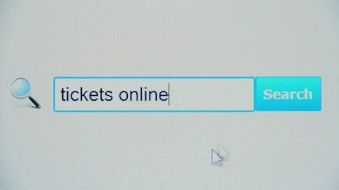 Tickets online - browser search query, Internet web page. Person planning vacation, business or tourism trip. Using booking website on PC, phone app. Looking for electronic flight reservation form