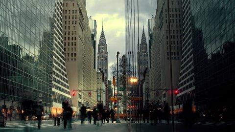 People walking on street in New York City