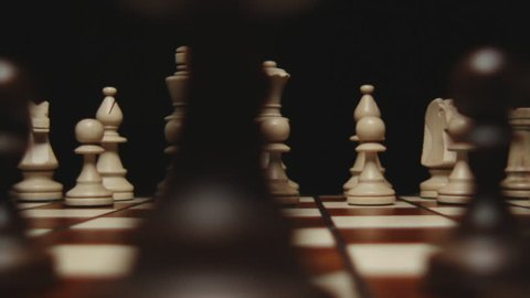 stock footage chessboard and chess pieces