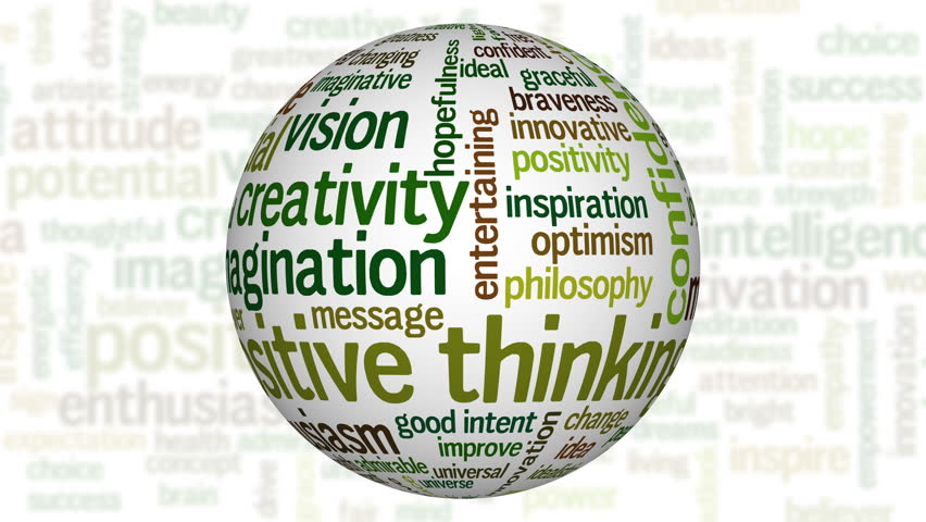 Animation of white sphere with tag cloud containing words related to creativity, positive thinking, confidence, enthusiasm, imagination, inspiration, potential, optimism