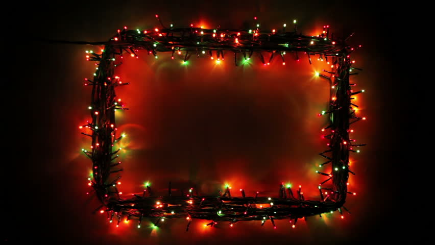 Blinking frame with Christmas lights, HD 1080p, loop - Blinking Frame With Christmas Lights, Stock Footage Video (100