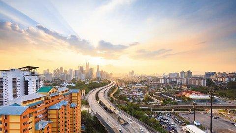 Time Lapse: Day to night of cityscape (Kuala Lumpur) - Pan Effect