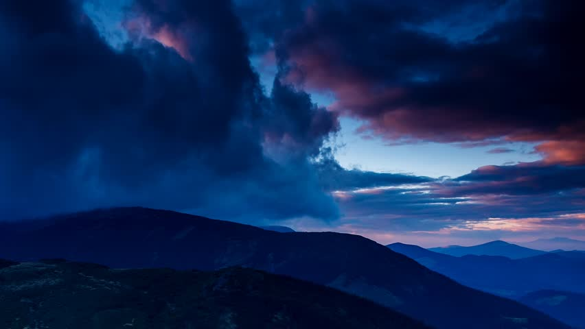 Time lapse clip. Fantastic mountain landscape with colorful cloud. Dramatic sky. Carpathian, Ukraine, Europe. Beauty world. Full HD video (High Definition)