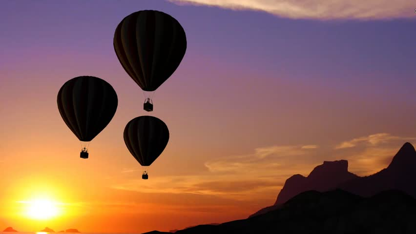 hot air balloons beautiful silhouette in the sunset stock footage
