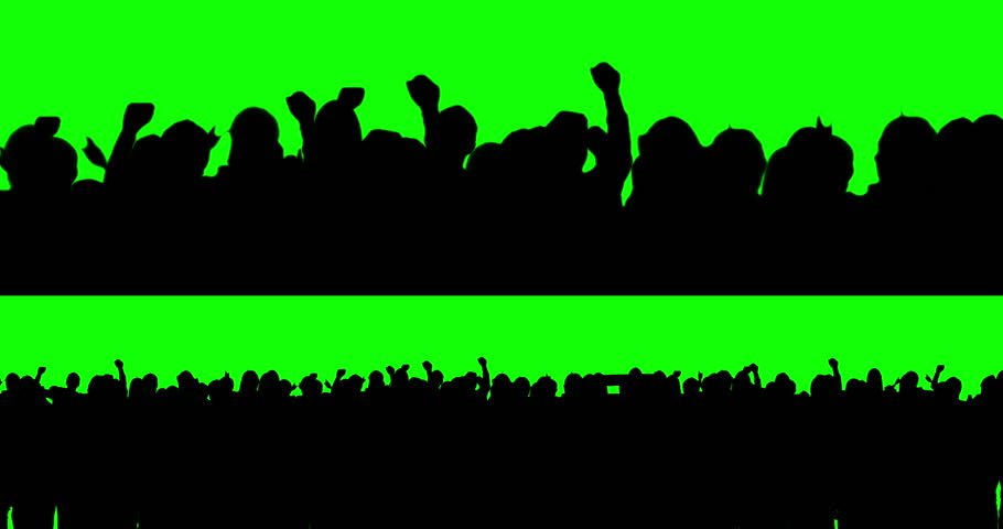 Football fans on green screen. Waving. #5763443