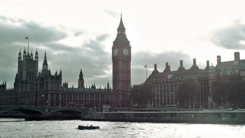 View of Westminster palace and bridge in London, England