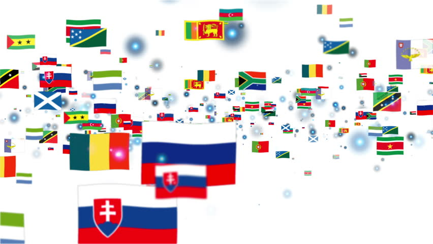 Flags of the World flying, white