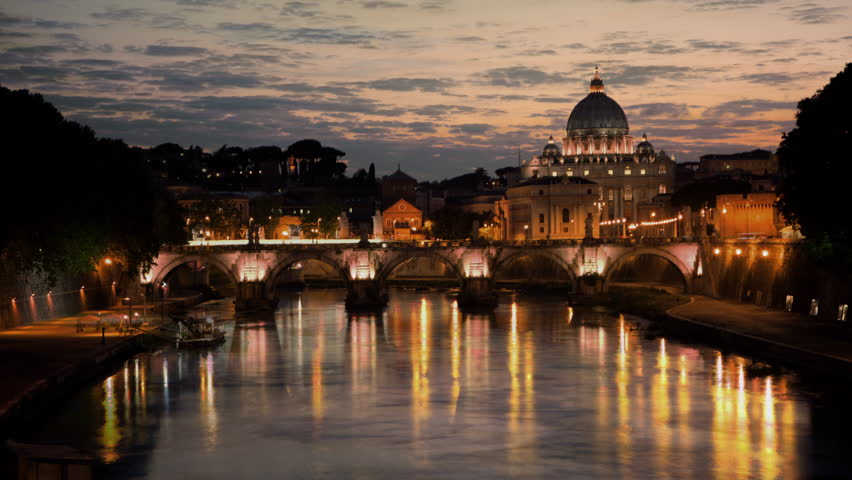 Sunset time-lapse of the Vatican City, from across the Tevere River