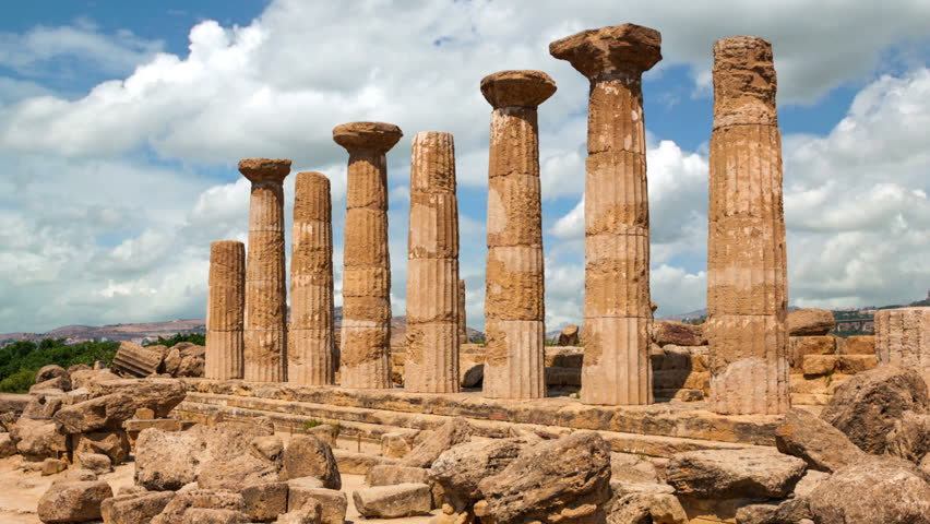 Timelapse of the ruins of Ercole temple in Valley of Temples in Agrigento, Sicily island, Italy