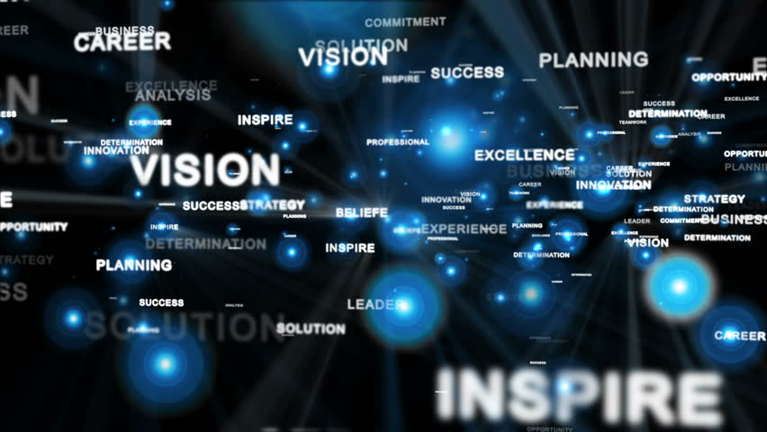 Motivational words, camera fly through, shine, black