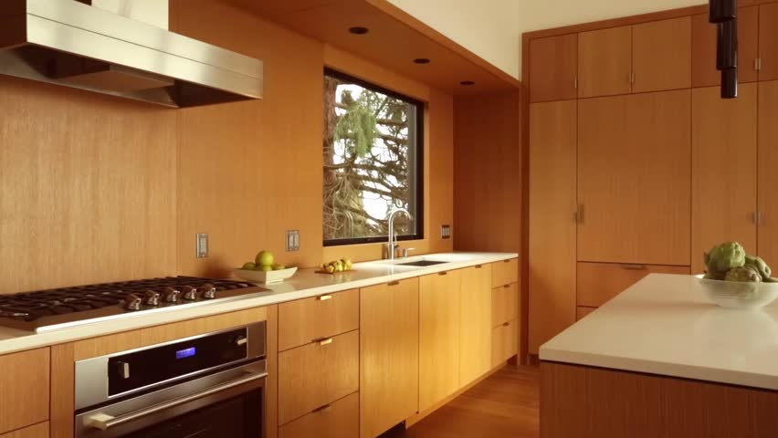 Modern Furniture Video kitchen with built-in wooden modern furniture in cozy apartment